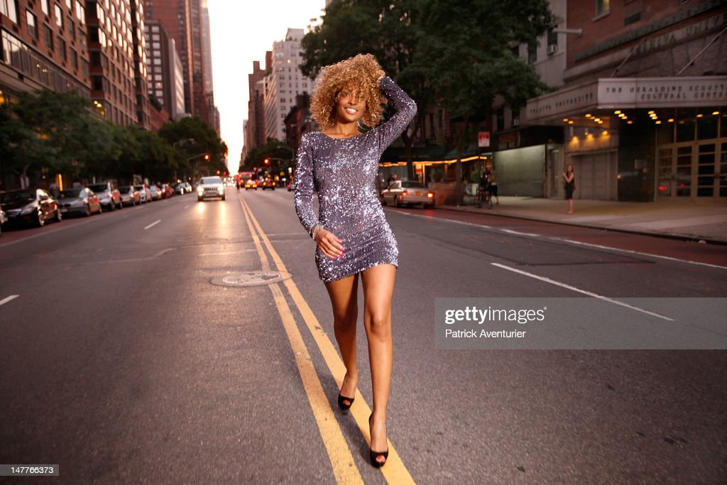 French Singer Adjana during the recording of the video on June 1, 2012 in New York City. The single 'Good Times I'm In Love' by disco producer Marc Cerrone, featuring Adjana is released on Jun 21. Cerrone's new album, 'Addict', will be released in September, 2012.