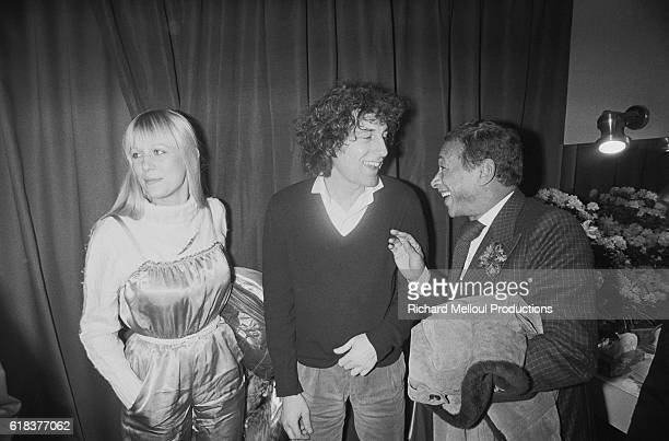 French singer Alain Souchon is joined backstage by fellow singers Stone and Henri Salvador during a 1979 concert at Olympia Hall in Paris Souchon...