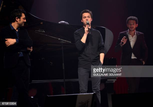 French singer Albin de la Simone french singer Tim Dup and french artist Vincent Dedienne perform on stage for a tribute to Barbara at the 41st...
