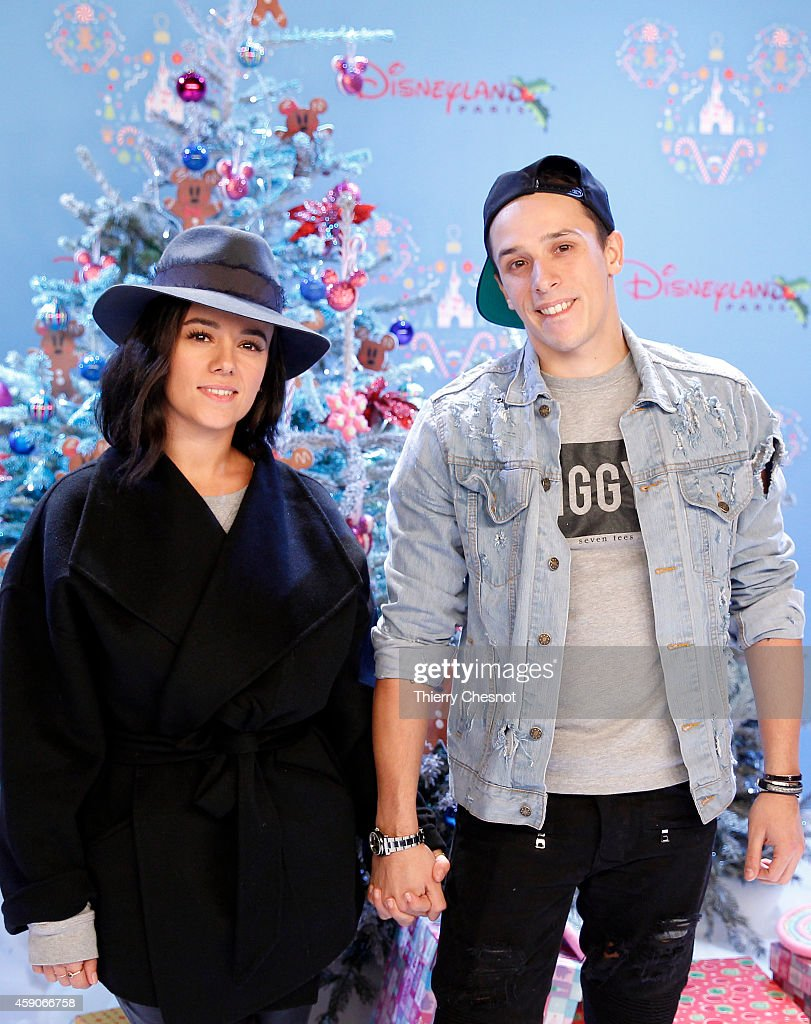 French singer, Alizee and French dancer, Gregoire attend the Christmas season launch at Disneyland Paris on November 15, 2014 in Paris, France.