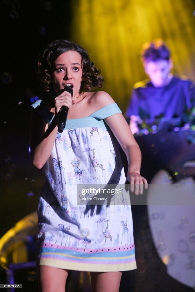 French singer Alizee performs live on stage on June 23, 2008 at Complejo Cultural Siglo XXI in Puebla, Mexico.