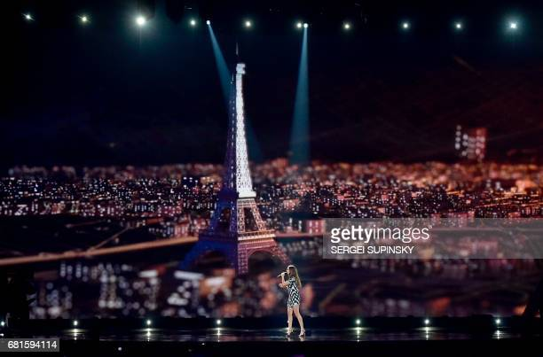 French singer Alma performs the song 'Requiem' during the second semifinal dress rehearsal of Eurovision Song Contest 2017 on May 10 2017 at the...