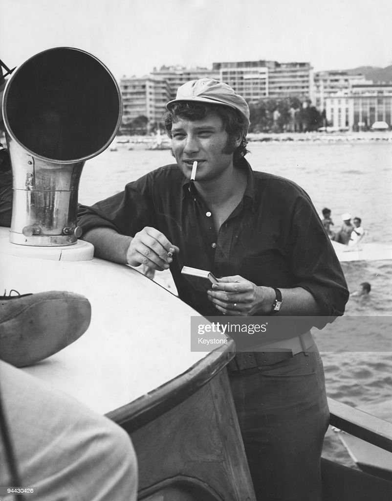 French singer and actor Johnny Hallyday on holiday in Cannes, 22nd July 1966.