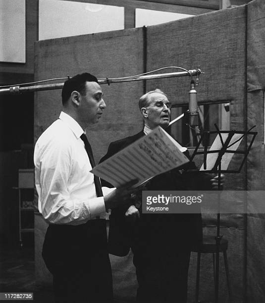 French singer and actor Maurice Chevalier recording songs at EMI studios in St John's Wood London 16th January 1962 With him is producer Arnold Maxin