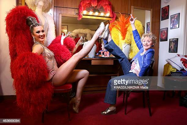 French singer and actress Annie Cordy 86 years poses backstage of the Moulin Rouge on January 16 2015 in Paris France