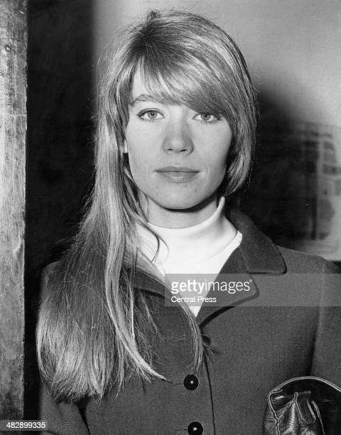 French singer and actress Francoise Hardy arriving at the Casino Cinerama Theatre for the gala premiere of John Frankenheimer's 'Grand Prix' Old...