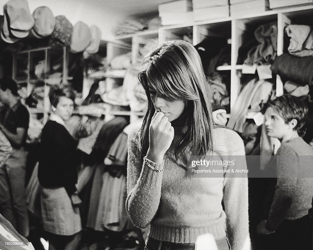 French singer and actress <a gi-track='captionPersonalityLinkClicked' href=/galleries/search?phrase=Francoise+Hardy&family=editorial&specificpeople=941715 ng-click='$event.stopPropagation()'>Francoise Hardy</a> having a look about some dresses in a dress shop.1960s