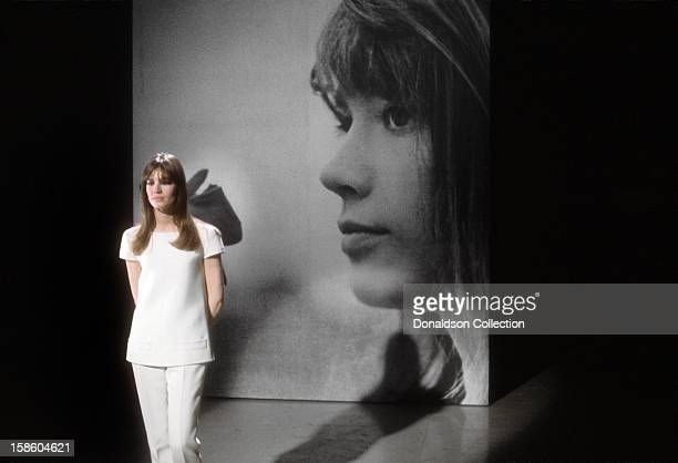 French singer and actress Francoise Hardy performs on the NBC TV music show 'Hullabaloo' in April 1965 in New York City New York