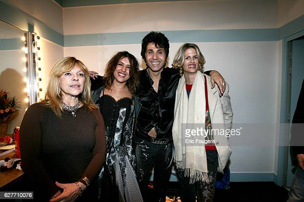 French singer and club owner JeanLuc Lahaye is surrounded by artists Nicoletta Nathalie Cardone and Laetitia Scherrer at the Olympia concert hall