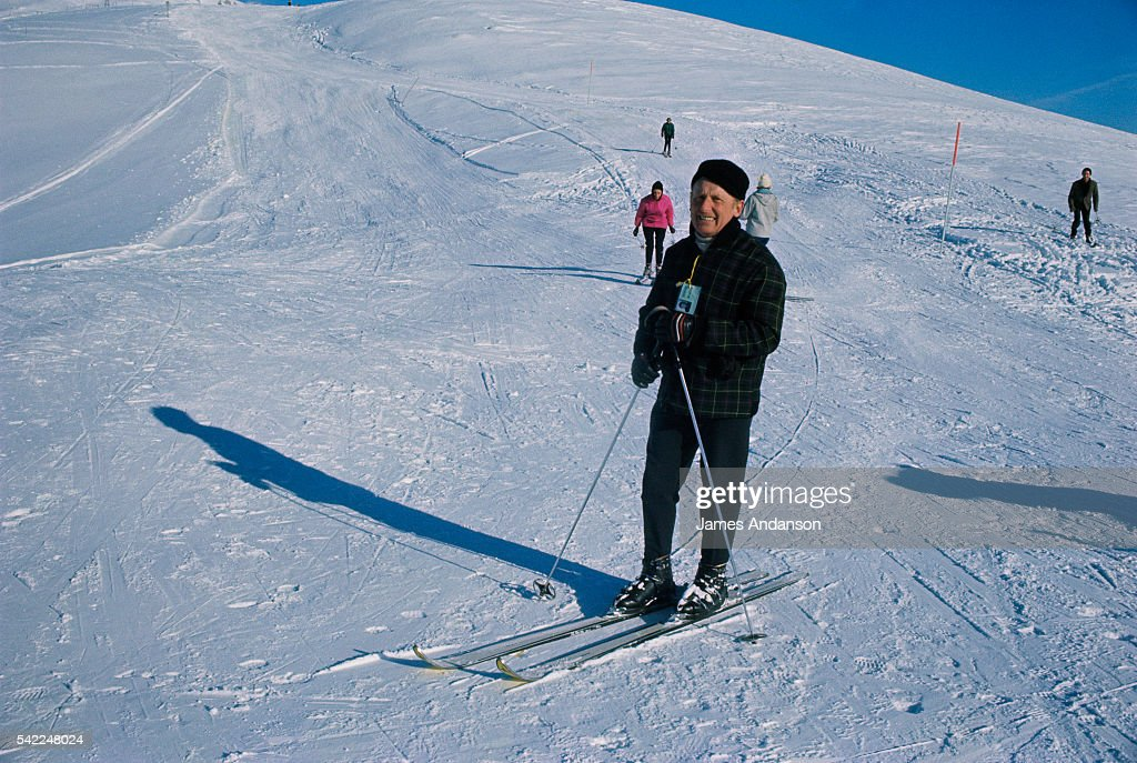 French singer and comedian Bourvil skiing in CranssurSierre Switzerland