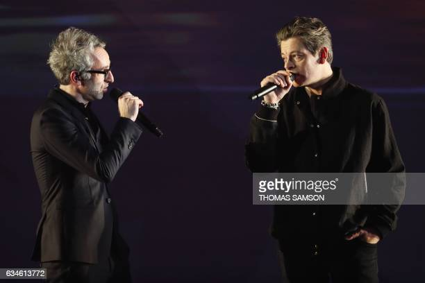 French singer and composer Vincent Delerm and French composer and singer Benjamin Biolay perform on stage during the 32nd Victoires de la Musique the...