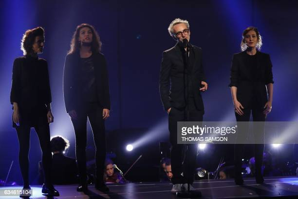 French singer and composer Vincent Delerm performs on stage during the 32nd Victoires de la Musique the annual French music awards ceremony on...