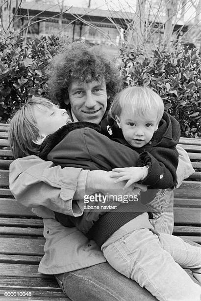 French singer and songwriter Alain Souchon with his sons Pierre and Charles