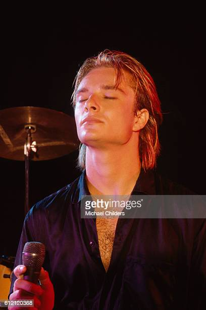 French singer and songwriter David Hallyday on stage in Los Angeles