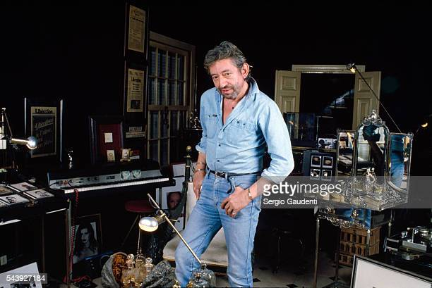 French singer and songwriter Serge Gainsbourg in his Rue de Verneuil home