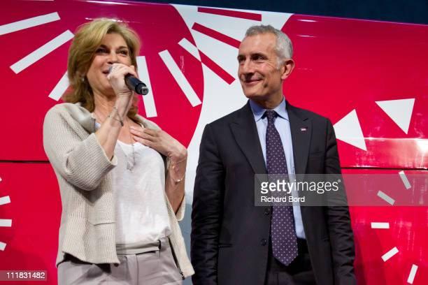 French singer and special guest Michele Laroque and SNCF CEO Guillaume Pepy attend the SNCF presentation at Gare Montparnasse on April 7 2011 in...