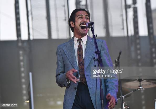 french singer arthur teboul of the band feu chatterton performs during the 32th francofolies. Black Bedroom Furniture Sets. Home Design Ideas