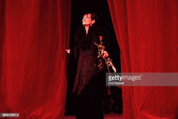 French singer Barbara performs on stage at the Theatre du Chatelet in Paris
