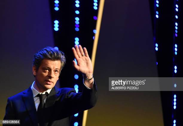 French singer Benjamin Biolay performs on May 28 2017 during the closing ceremony of the 70th edition of the Cannes Film Festival in Cannes southern...