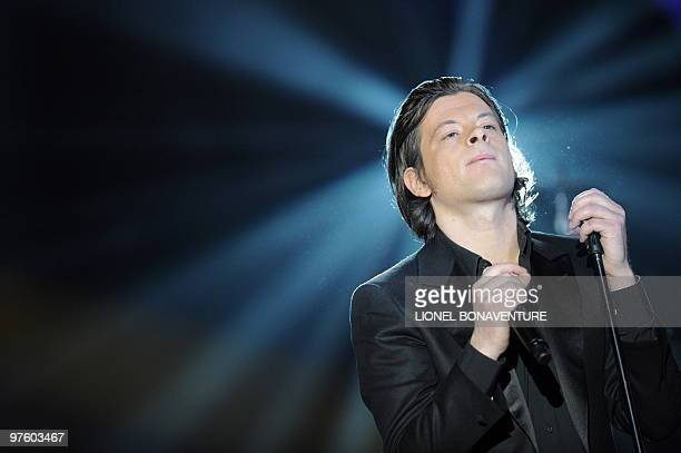 French singer Benjamin Biolay performs on stage during the 25th Victoires de la Musique yearly French music awards ceremony on March 6 2010 at the...