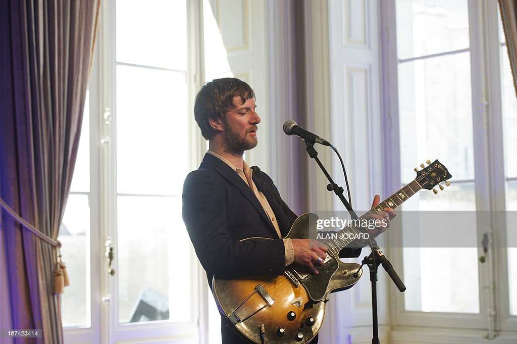 French singer Bertrand Belin performs during the 37th edition of 'Le Printemps de Bourges' rock and pop festival in the French city of Bourges on April 25, 2013.