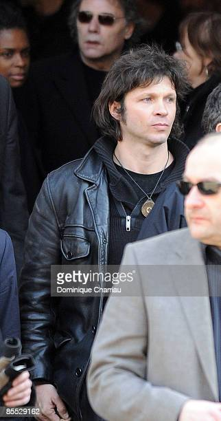 French Singer Bertrand Cantat attends singer Alain Bashung's Funeral at SaintGermaindesPres church on March 20 2009 in Paris France