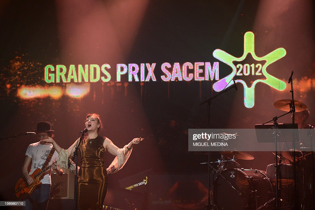 French singer Catherine Ringer performs on stage after being awarded with the Special Prize and the INA numeric honour during the SACEM (Societe des auteurs, compositeurs et editeurs de musique) Grand Prix awards ceremony on November 26, 2012 at the Casino de Paris. Every year the SACEM Grand Prix awards identify favourites among creators from the music, entertainment and audiovisual worlds and the media.