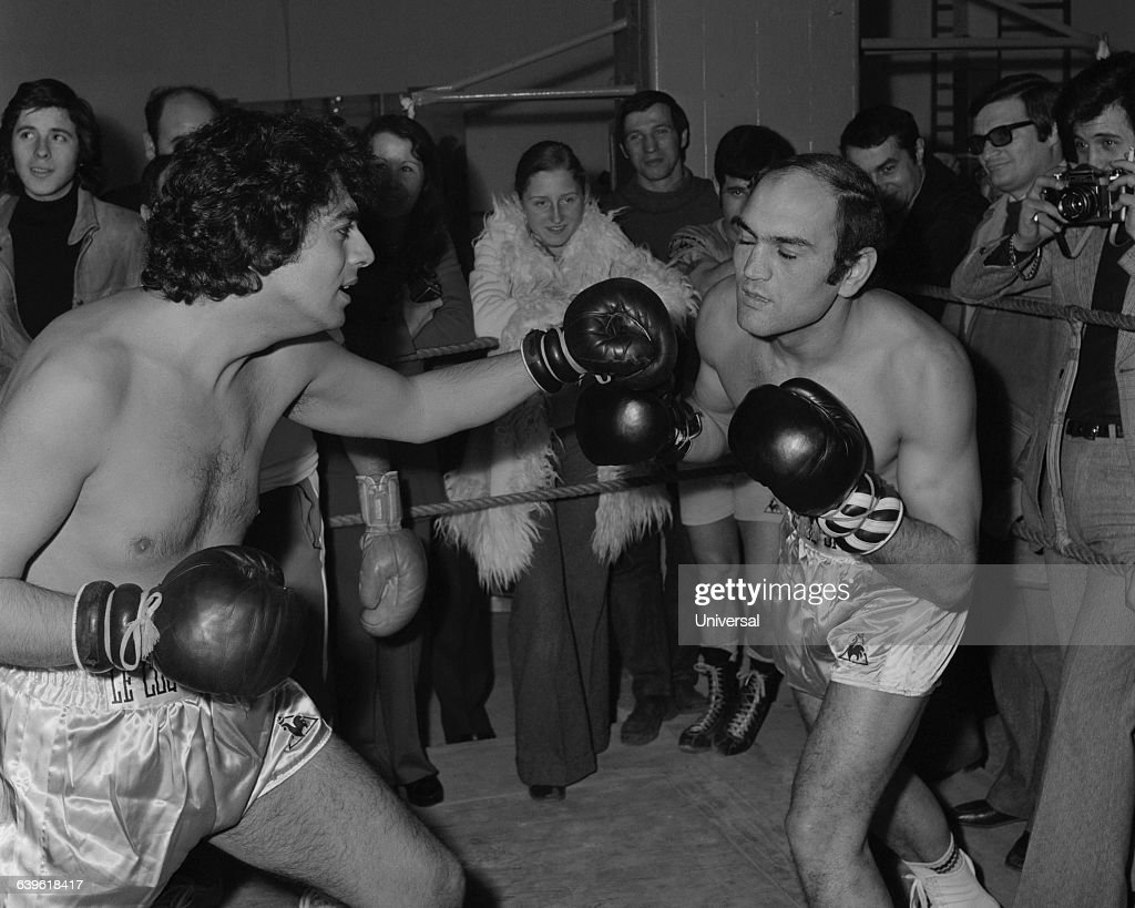French singer Enrico Macias during a comedic bout against French boxer Max Cohen