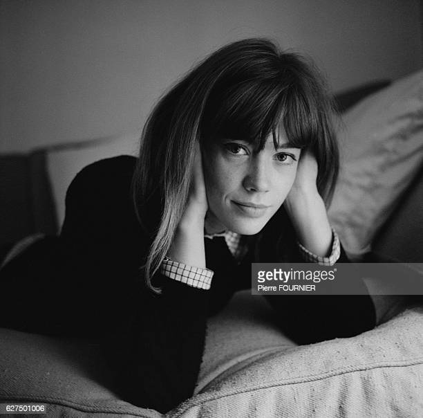 French singer Francoise Hardy at home