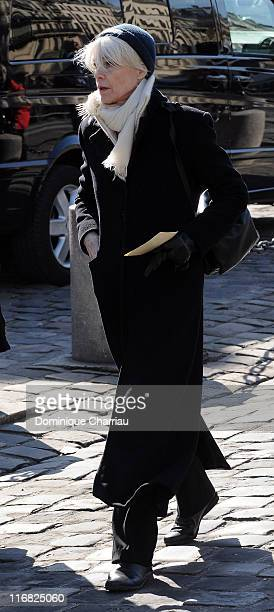 French singer Francoise Hardy attends singer Alain Bashung's Funeral at the SaintGermaindesPres church on March 20 2009 in Paris France