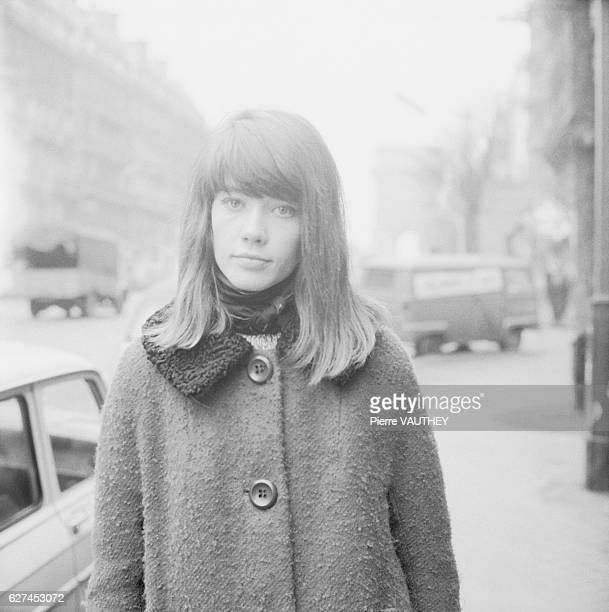 French singer Francoise Hardy on the streets of Paris