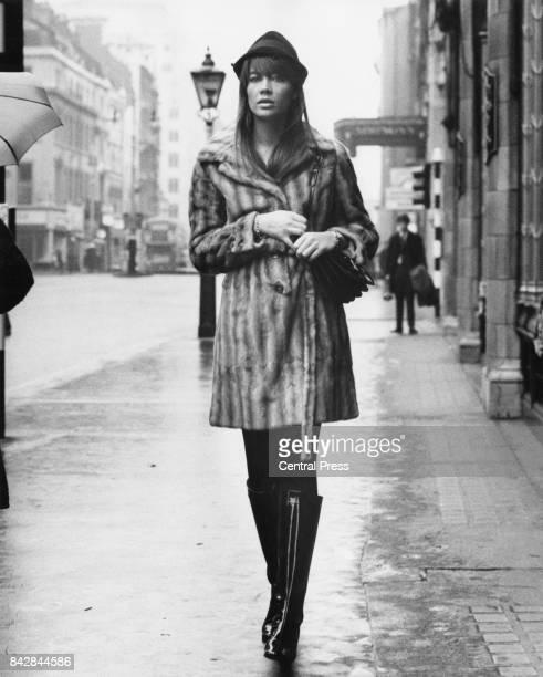French singer Françoise Hardy walks down The Strand in London 5th November 1966