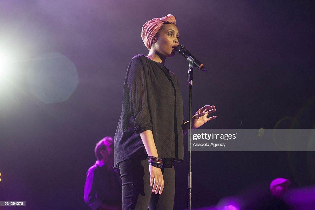 French singer Imany performs during the 15th International Mawazine Music festival at National Theatre Mohammed V in Rabat, Morocco on May 25, 2016.