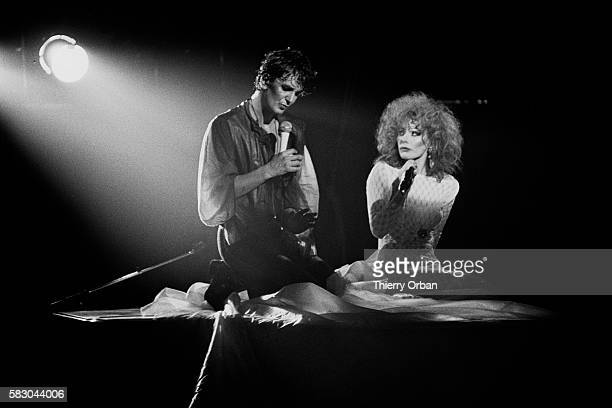 French singer Jacques Higelin singing with Armande Altai during a performance of his musical show Jacques Joseph Victor dort at the Cirque d'Hiver in...