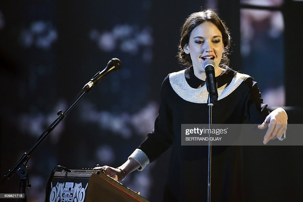 French singer Jain performs on stage during the 31st Victoires de la Musique, the annual French music awards ceremony, on February 12, 2016 at the Zenith concert hall in Paris. AFP PHOTO / BERTRAND GUAY / AFP / BERTRAND GUAY
