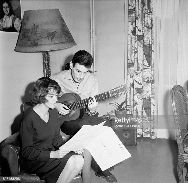 French singer Jean Ferrat at home with his wife Christine Sevre