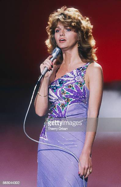 French singer Jeane Manson performing in concert on the French television show Palmares de la Chanson The musical variety show features popular...