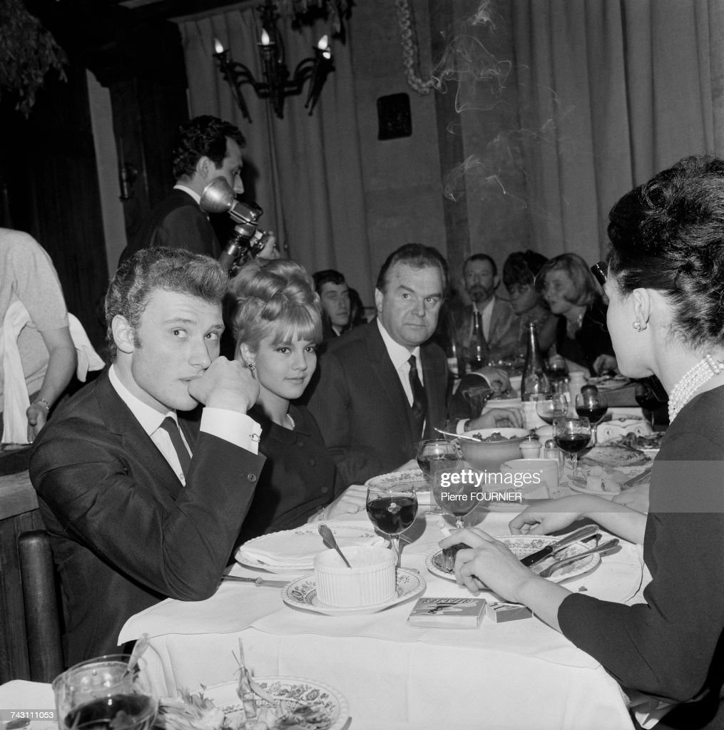 French singer Johnny Hallyday and his wife Sylvie Vartan at the Premiere of French singer Colette Magny at the Olympia Hall in Paris, 4th, April 1963.