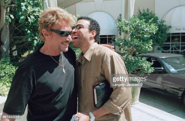 French singer Johnny Hallyday and Lionel Ritchie in Los Angeles 15th July 1998