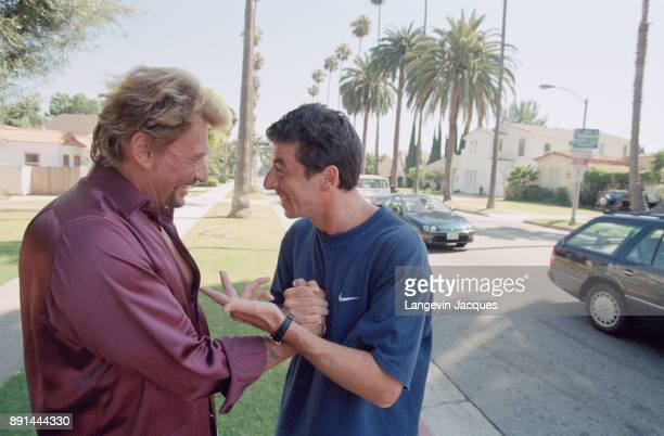 French singer Johnny Hallyday and Patrick Bruel in Los Angeles 15th July 1998