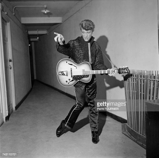 French singer Johnny Hallyday backstage at the Alhambra music hall in Paris 16th September 1960