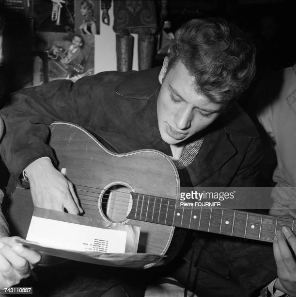 French singer Johnny Hallyday on the set of the film 'Les Parisiennes' directed by Marc Allegret Paris 20th November 1961