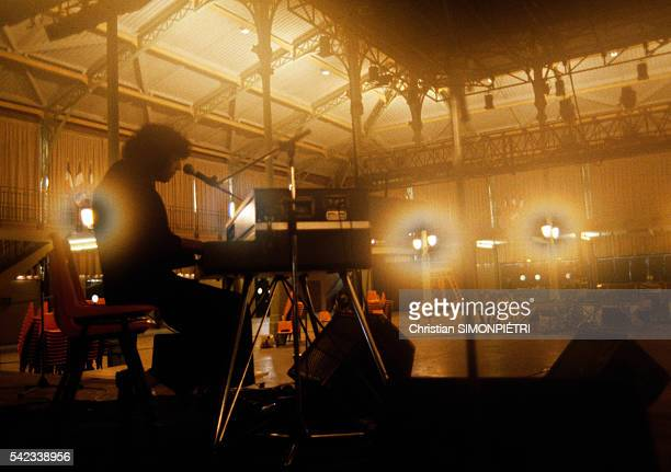 French Singer Julien Clerc Rehearses Before a Concert