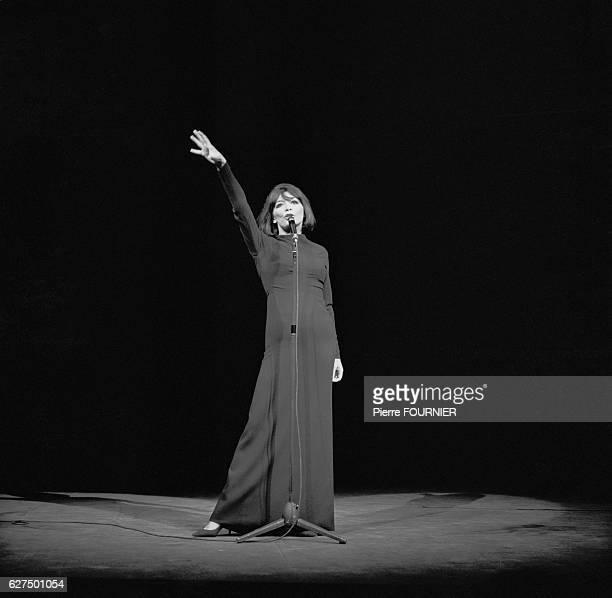French singer Juliette Greco performs at Paris' Theatre de la Ville