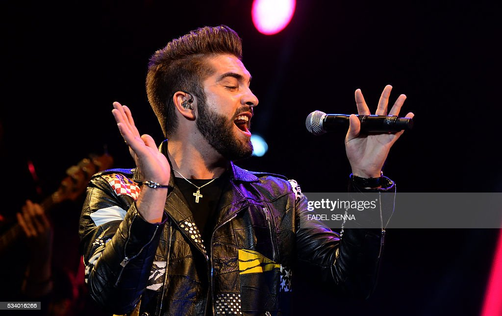 French singer Kendji Girac performs during the World Music Festival 'Mawazine' in Rabat on May 24, 2016 . / AFP / FADEL