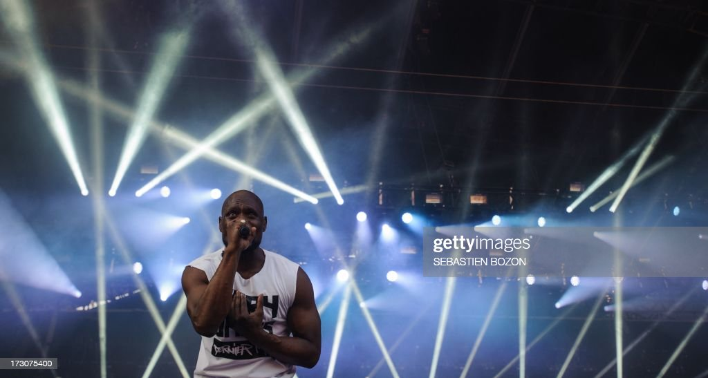 French singer Kery James performs on stage of the Eurockeennes music festival on July 6, 2013, in the French eastern city of Belfort.