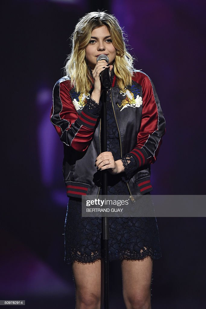 French singer Louane Emera aka Louane performs on stage during the 31st Victoires de la Musique, the annual French music awards ceremony, on February 12, 2016 at the Zenith concert hall in Paris. AFP PHOTO / BERTRAND GUAY / AFP / BERTRAND GUAY