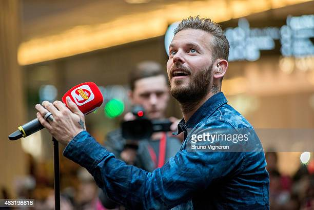 French singer Matt Pokora performs during a public showcase organized by Radio Scoop at PartDieu shopping center on February 11 2015 in Lyon France