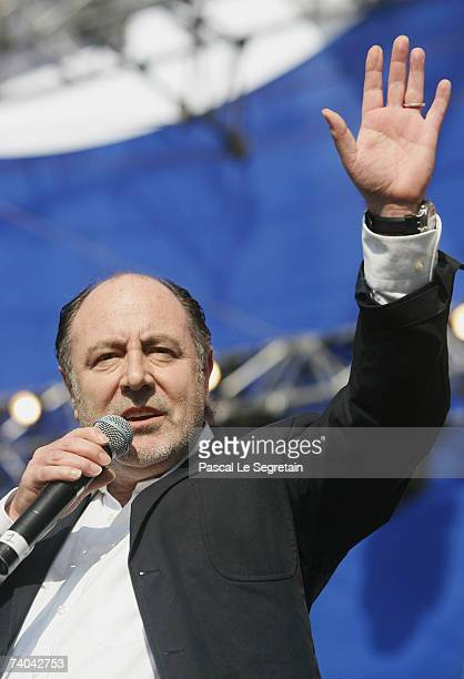 French Singer Michel Delpech performs on stage before French socialist presidential candidate Segolene Royal's campaign rally on May 1 2007 in...