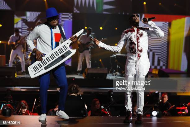 French singer Mohamed Sylla aka MHD performs on stage during the 32nd Victoires de la Musique the annual French music awards ceremony on February 10...